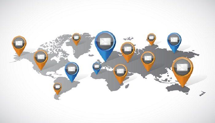 email marketing communication world map illustration design over a white background